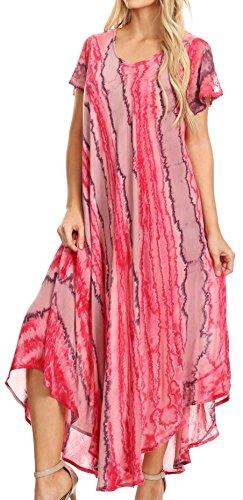 Sakkas Maeva Casual Boho coton Cape manches robe d'été / Cover Up Rose
