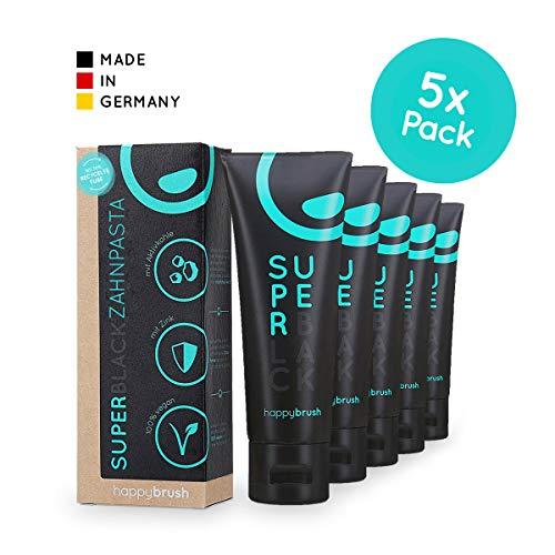happybrush® Aktivkohle Zahnpasta Minze | Teeth Whitening Zahnpasta SuperBlack für Weiße Zähne (5 Stück 75ml)