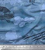 Soimoi Blau Satin Seide Stoff Wolken & Flugzeug Transport