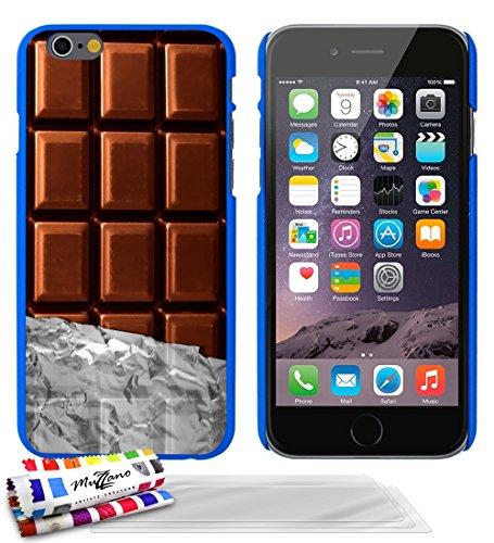 Ultraflache weiche Schutzhülle APPLE IPHONE 6 4.7 POUCES  [Schokolade] [Lila] von MUZZANO + 3 Display-Schutzfolien UltraClear + STIFT und MICROFASERTUCH MUZZANO® GRATIS - Das ULTIMATIVE, ELEGANTE UND  Blau + 3 Displayschutzfolien