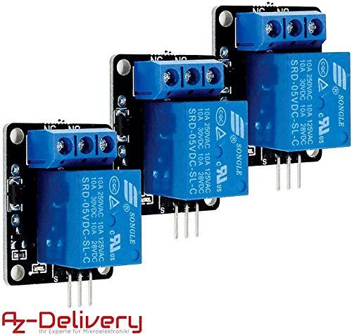 AZDelivery ⭐⭐⭐⭐⭐ 3 x rele KY-019 modulo High-Level-Trigger para Arduino con ebook Gratis!