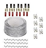 50 Meter 2 x13 Strang Lautsprecher Kabel Verlängerungs-set - Inklusive 7 X Anschlussblöcke and 100 Kabel Klammern