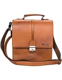 Genuine Premium Unisex Leather Sling Bag - Cosmus Georgia Tan Casual Leather Bag