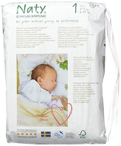 Naty by Nature Babycare Ökowindeln – Größe 1 Newborn, 2-5 kg, 2er Pack (2*26 Stück) - 2