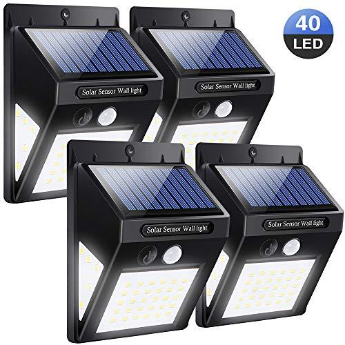 Solarleuchte für Außen 40 LED | 4 Stück LED Solarlampen mit Bewegungsmelder | Superhelle Solarleuchte mit 2 Modi | 270 °Weitwinkel, IP64, 1200mAh | Solar Wandleuchte für Garten, Hoftür | SOLMORE