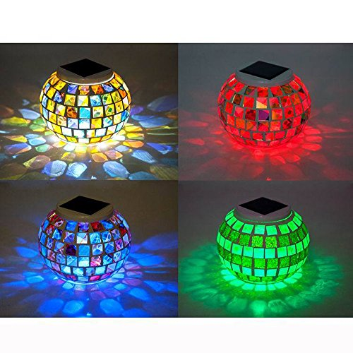 Solar Powered Mosaic Crystal Glass Lamp Colour Changing Globe Table Lamps Waterproof Solar Garden Light For Indoor Outdoor Patio Yard Party Christmas Festival