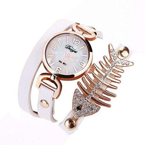 1 PC Damen Fisch Spezial Knochen Wicklung Analog Quartz Bewegung Armbanduhr Armband von CICIYONER (Weiß)