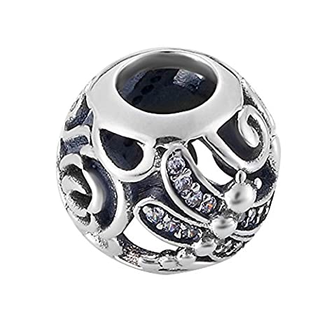 Sumerflos 925 Sterling Silver Dragonfly Meadow Charms beads fits Pandora Troll Chamilia Kay Carlo Biagi and other add-a-bead