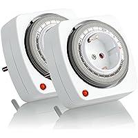 SEBSON Zeitschaltuhr mechanisch, analog, 24h Timer, 3680W, einfache Handhabung, Stunden-Zeitschaltuhr, 2er Pack