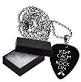 Keep Calm And Rock On Boxed Metal Guitar Pick Necklace Collier Médiator (GD)