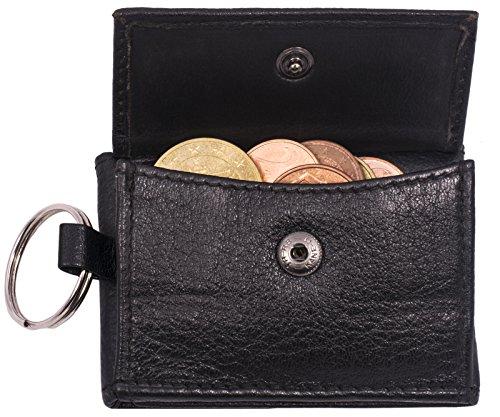 BelleBay Geldbörse Schlüsselbörse   Leder Schlüsseletui - Portemonnaie   Mini Portemonnaie mit Münzfach   Schmale Slim Schlüssel-Brieftasche   Portmonee - Schlüsselanhänger (Schwarz)