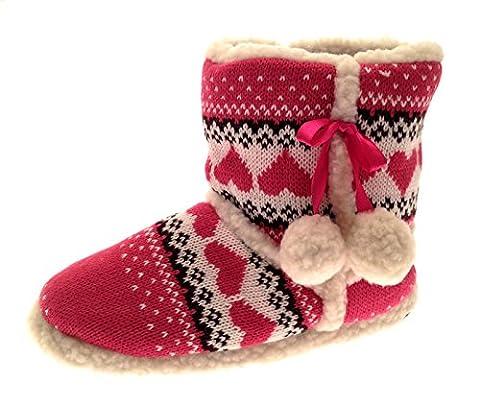Damen Hausschuhe/Hausstiefel - Kunstfell & Ziersteine - Warm für den Winter - Rosa gestrickt mit Herzen - L (40-41)