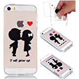 Transparent Coque pour iphone SE /iphone 5S,Meet de Couple amour Design Ultra Mince Antidérapant Coque de Protection en Soft Silicone TPU Bumper Cas Clair Souple Gel Housse Flexible Souple Case Protecteur Back Cover Defender pour iphone SE /iphone 5S