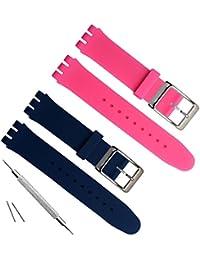 17mm de repuesto resistente al agua correa de reloj de goma de silicona banda de reloj (azul + rosa)