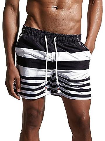 Minetom Maillot De Bain Homme Boxer Trunks Shorts Pantalon Court De Sport Plage Mer Loisir Swim Bermudas Élastique Réglable Bande Été Noir EU XL