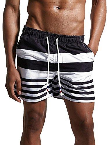 Levis Low Rise Shorts (Minetom Sommer Herren Shorts Sporthose Boxershorts Badehose Swimsuits Jogginghose Fit Herrenhose Schnell Boardshorts Kurzhose Elastisch Streifen Schwarz EU XL)