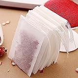 100×Chytaii Teebeutel Teefilter Einweg Teabag Selbstbefüllbar mit Schnur für Obsttee Schwarztee Teeblumen Gewürz Kräuterpulver 70x90 MM Weiß