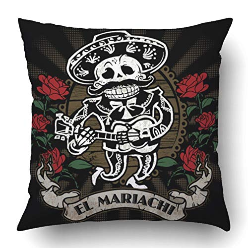 Throw Pillow Covers Black Tattoo Mariachi Skeleton Mexico Skull Sombrero Guitar Music Halloween Evil Polyester 18 X 18 Inch Square Hidden Zipper Decorative Pillowcase