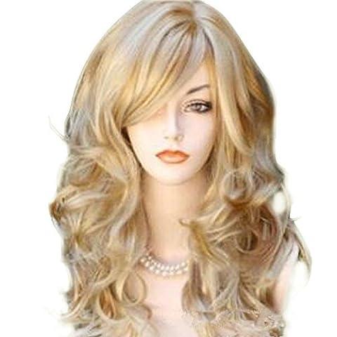 Bestland 65cm Sexy goldene Blondine lange große Wellen-Mischungs-volle Volumen-lockige wellenförmige Perücke mit langer Knall-Frauen Mädchen-heiße volle Haar-Perücke s Cosplay Kostüm-Partei-Anime-Perücken mit freiem Perückekappe und (Partei Kostüme)