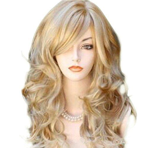 Mädchen Lockiges Haar Kostüm Mit - Bestland 65cm Sexy goldene Blondine lange große Wellen-Mischungs-volle Volumen-lockige wellenförmige Perücke mit langer Knall-Frauen Mädchen-heiße volle Haar-Perücke s Cosplay Kostüm