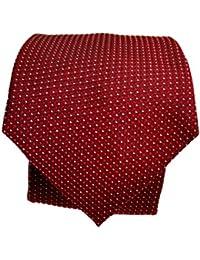 Blacksmith Slim Red Polka Dot Formal Tie for Men - Red Jacquard Necktie for Men - Red Formal Ties for Men