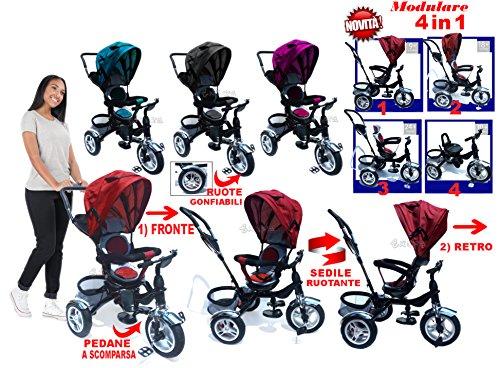 Strmy triciclo passeggino trike con seggiolino ruotante e modulare 4 in 1 cresce con il tuo bimbo (blu)