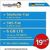 DeutschlandSIM LTE 6000 National - monatlich kündbar (6 GB LTE mit max. 50 MBit/s inkl. deaktivierbarer Datenautomatik, Telefonie-Flat, SMS-Flat, 19,99 Euro/Monat)