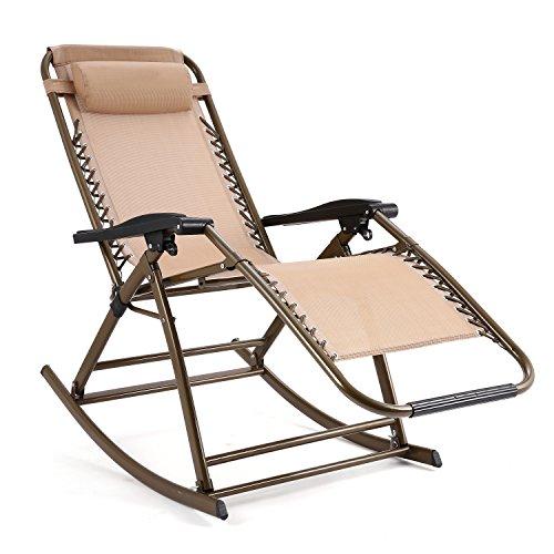 Schaukelliege Klappbar von Flabor, Schaukelstuhl Relaxliege mit abnehmbarem Kopfkissen für Garten Wohnzimmer Sonnenliege Strandliege Beige