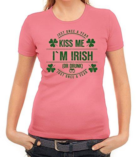 Day Partner Gruppen Damen T-Shirt Kiss Me I'm Irish, Größe: XL,Rosa (Rosa Damen Kostüme Irland)