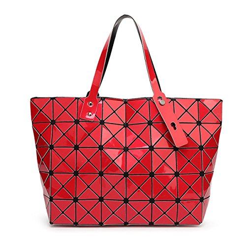 Strawberryer Sacs à bandoulière en cuir femmes Sacs à main géométriques Pliage en sac fourre-tout,red-43*28*10.6cm