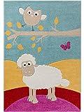 benuta Kinderteppich Eule und Schaf Multicolor 120x170 cm | Teppich für Spiel- und Kinderzimmer