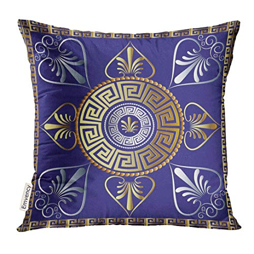 Trsdshorts Throw Pillow Cover Mandala Ancient Greek Key Meander Circle Blue Floral with Grecian Vintage Gold 3D Flowers Frames Tracery Decorative Pillow Case Home Decor Square 18x18 Inches Pillowcase Grecian Jersey