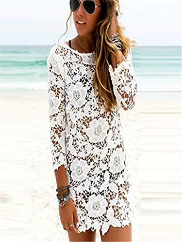 STJD Damen Spitzenkleid Sommerkleid Hollow Out Lace Cover-up Beachwear Bikini Strandtunika Sommer Weiß Weiß