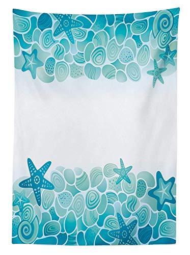 Yeuss Ocean Outdoor-Tischdecke, Moderne Sealife Meeresmuscheln Sterne Fische unter dem Meer, dekorative waschbare Picknick-Tischdecke, türkisfarbenes Meeresmotiv, weiß, 60