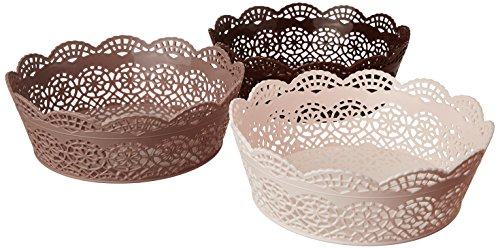 Nayasa Lacy Round 3 Piece Basket Set, Beige, Peach and...