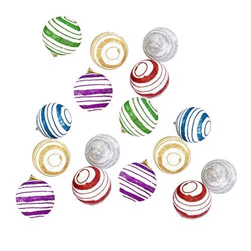 70mm A Strisce Variopinto Colorato Paillettes Albero Di Natale Bagattelle Decorazioni - Confezione Da 6