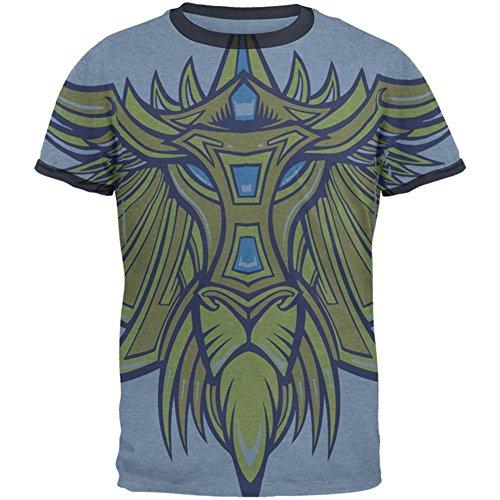 Old Glory Leo König der Löwen Herren Ringer T-Shirt Heather Blue-Navy SM