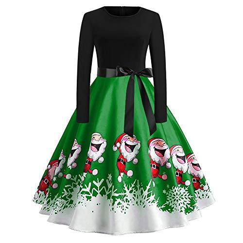 Xmiral Weihnachten Kleid Damen Elegant Vintage Xmas Print Langarm Abend Party Kostüm (M,Grün1)
