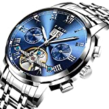 Orologi uomo,LIGE Meccanico Automatico Orologio Acciaio inossidabile Data Moda Casual Scheletro Tourbillon Orologi da polso argento blu