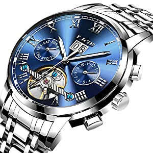 Watches for Men,LIGE Luxury Brand Automatic Mechanical Wrist Watch Stainless Steel Waterproof Date Fashion Casual Skeleton Tourbillon Watch Silver Blue
