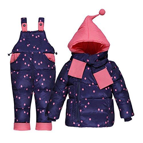 LSHEL Kleinkind Baby Schneeanzug mit Kapuze Winterjacke und Daunenhose