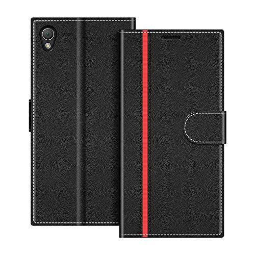 COODIO Coque en Cuir Sony Xperia Z3, Étui Téléphone Sony Xperia Z3, Housse Pochette Sony Xperia Z3 Fonction Stand Etui Coque pour Sony Xperia Z3, Noir/Rouge