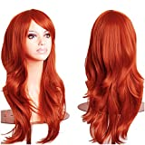 """S-noilite New 23"""" Cosplay Wavy Wigs Full Head Orange Hair Wig Anime Cosplay/Costume Party Fancy Dress"""