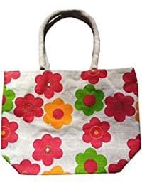 Pooja Bags Jute Carry Bag Red Patti Printed Set Of 2 PCs (Red/Green, Size: 12*10*6 Inches)