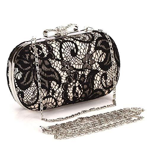 Chenteshangmao Umhängetasche, Spitze Schmetterling Gericht Satin Abendtasche, Clutch Bag, Brieftasche, (Farbe: Gold) Klassische Eleganz Fashion Geldbörse