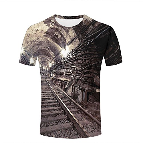 ouzhouxijia Mens 3D Print T-Shirts Bright Railway Tunnel Graphic Couple Tees A