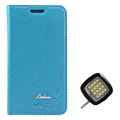 DMG Lishen Fine Leather Magnetic Wallet Folio Stand Case for Samsung Galaxy S Duos S7582 (Light Blue) + 3.5mm Continuous LED Spotlight Flash