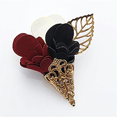 MGS Men's Corsage Lapel Stick Pin Brooch Flower Leaf Fabric Copper White Red Dark Blue Golden Suit Shirt Banquet Party Wedding Gift