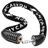 MYCARBON Candado de Bicicleta la Cerradura de Aleación de Aluminio | Bloqueo Combinado de 5 Dígitos | Ø 6mm Cadena de Seguridad Cadena de Seguridad de Bicicleta Cadenas Antirrobo de Servicio Pesado