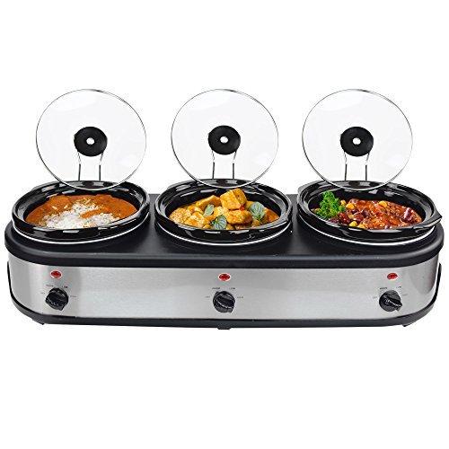 SC-7.5L_OV 3 x 2,5 Liter Slow Cooker mit Warmhaltefunktion, Sicherheitsglas und entnehmbarer innerer Keramikschüssel, Edelstahl